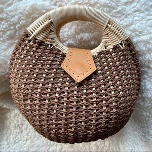 Handbags - Boho Rattan Brown/White bag.